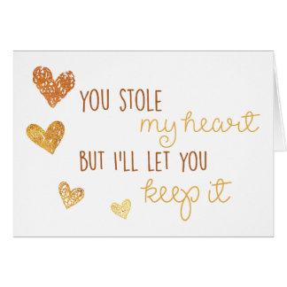 blank card you stole my heart romantic cute