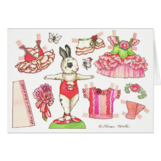 Blank Carnation Paper Doll Card