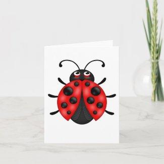 Blank Cartoon Red Ladybug Notecards Customizable