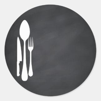 Blank Chalkboard Customize Text Kitchen Tools Classic Round Sticker