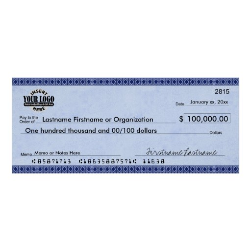 Blank Check for Sweepstakes & Awards BLUE ART DECO Posters