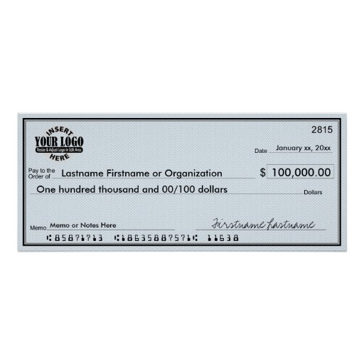 Blank Check for Sweepstakes & Awards Posters