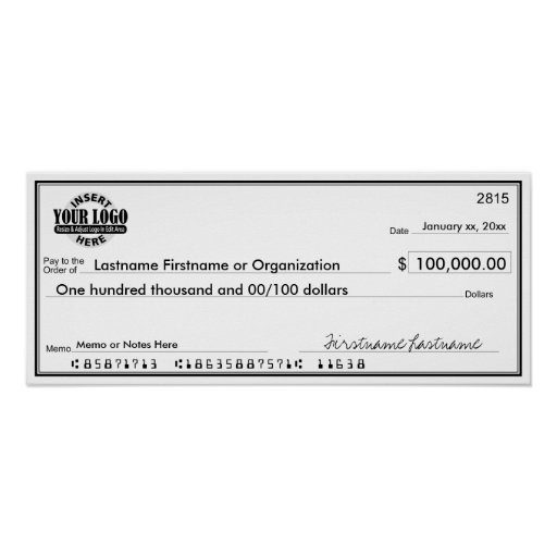 Blank Check for Sweepstakes & Awards Print