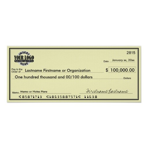 Blank Check for Sweepstakes & Awards YELLOW Poster