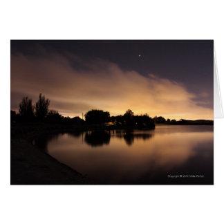 Blank Cust Lake Skyline at Night 1 Greeting Card