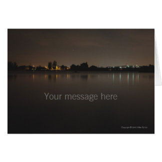 Blank Cust Lake Skyline at Night 2 Greeting Card