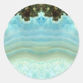 Blank Custom Trendy Chic Blue Gemstone Celebration Classic Round Sticker