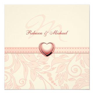 Blank Elegant Pink Monogram Wedding Invitess 5.25x5.25 Square Paper Invitation Card