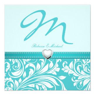 Blank Elegant Teal Monogram with Platinum Heart 5.25x5.25 Square Paper Invitation Card