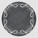 Blank Faux Chalkboard Floral Curves Customize Classic Round Sticker