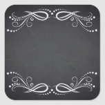 Blank Faux Chalkboard Floral Curves Customize Square Sticker