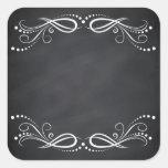 Blank Faux Chalkboard Floral Swirl Customize Square Sticker