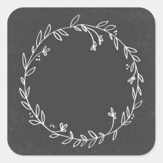 Blank Floral Wreath Chalkboard Thank You Sticker