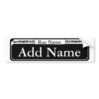 Blank French Quarter Street Sign, Add Name bumpersticker