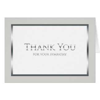 Blank Funeral Thank You Note Card - Classic Silver