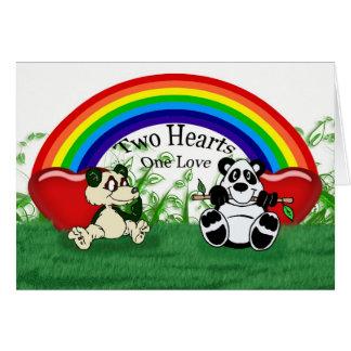 Blank gay lesbian Love card with pandas and rainbo
