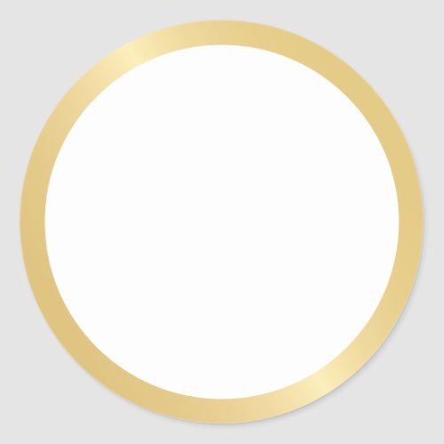 Blank Gold and White Classic Round Sticker