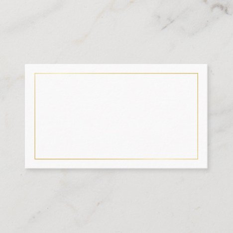 Blank Gold and White Wedding Place Card