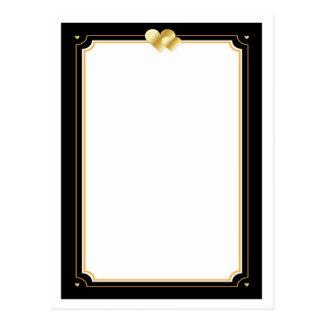 Blank Gold & Black Heart Background Postcard