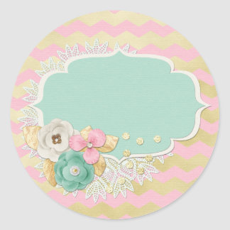 Blank Gold Pink Chevron Glam Flowers Customizable Classic Round Sticker