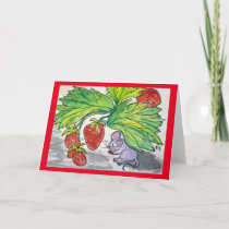 Blank Greeting Card Mouse Eating Strawberries