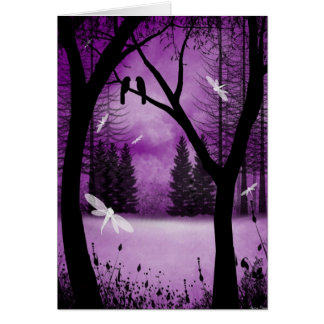 Blank Greeting Card Purple Woodland Dragonflies