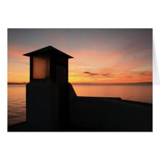 Blank Greeting card with Burghead Pier at sunset