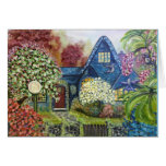 Blank greeting card with Hummingbird Cottage print
