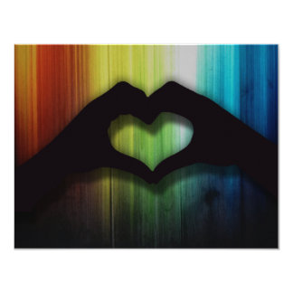 Blank Hand Hearts With Rainbow Lighted Wood 4.25x5.5 Paper Invitation Card