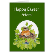 Blank Happy Easter Mom, Mother Robin on Nest Card