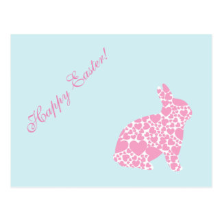 """Blank - """"Happy Easter"""" Pink Hearts Bunny Postcard"""