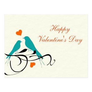 "Blank - ""Happy Valentine's Day"" Blue Love Birds Postcard"
