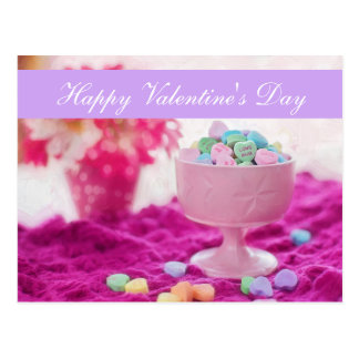 """Blank - """"Happy Valentine's Day"""" Candy Heart Postcard"""