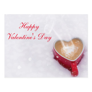 """Blank - """"Happy Valentine's Day"""" Cocoa in the Snow Postcard"""