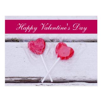 "Blank - ""Happy Valentine's Day"" Heart Lollipops Postcard"
