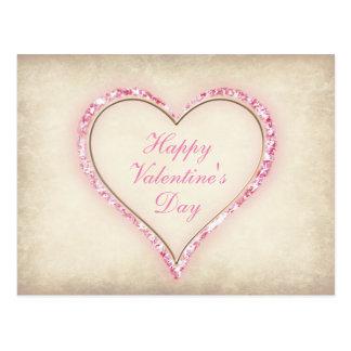 "Blank - ""Happy Valentine's Day"" Petal Heart Postcard"
