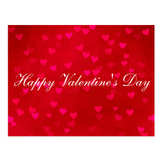 """Blank - """"Happy Valentine's Day"""" Red Hearts Postcard"""