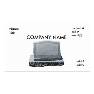 blank headstone business card template