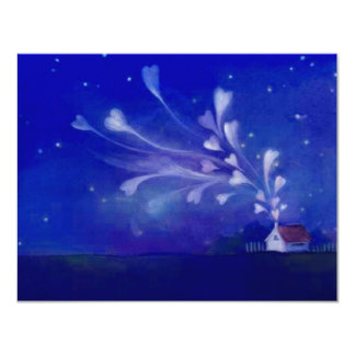 Blank Home Filled With Love Hearts Night Sky Nite 4.25x5.5 Paper Invitation Card