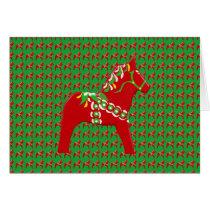 Blank inside Dala Horse Christmas Card