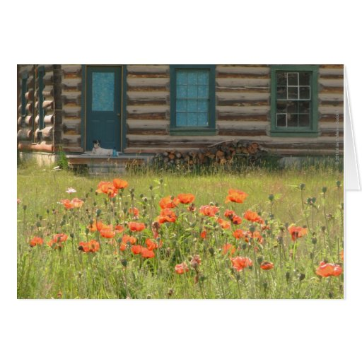 Blank Inside Dog and Poppies Greeting Card