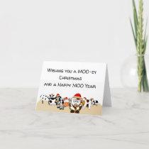 Blank Inside Farm Christmas, Cows, Dairy Farm Holiday Card