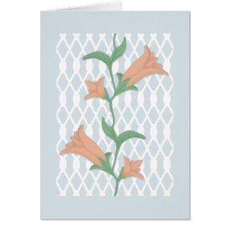 Blank Inside Note Card - Lilies on a Trellis