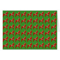Blank Inside Red and Green Dala Horse Card