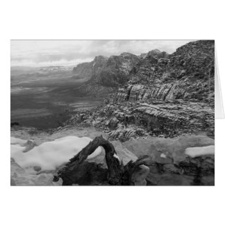 Blank Inside Red Rock Canyon Winter B&W Greeting Card