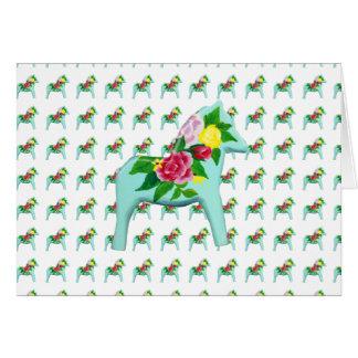 Blank inside Rose Dala Horse Card