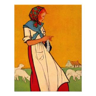 Blank Invitation Crafting Lady Pastoral Sheep Wool