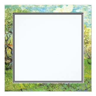 blank invitation. van Gogh Orchard in Blossom Personalized Announcements