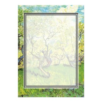 blank invitation. van Gogh Orchard in Blossom