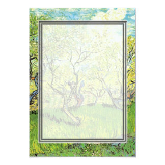 blank invitation. van Gogh Orchard in Blossom Personalized Announcement